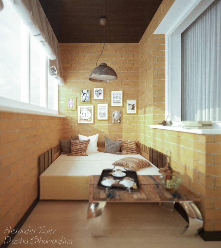 """Дизайн балкона в стиле """"лофт"""" в ЖК """"Янтарный"""" (Краснодар): Tерраса в . Автор – Студия интерьерного дизайна happy.design"""