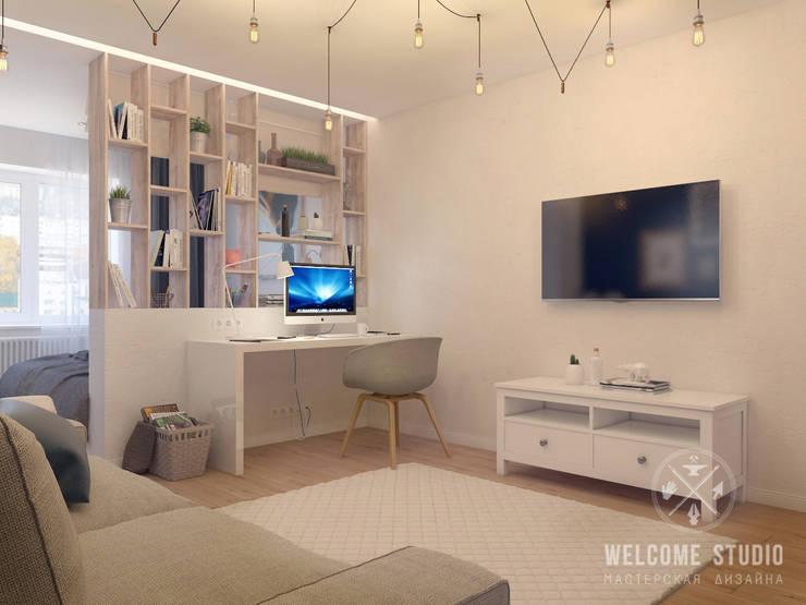 Гостиная, ракурс 2: Гостиная в . Автор – Мастерская дизайна Welcome Studio