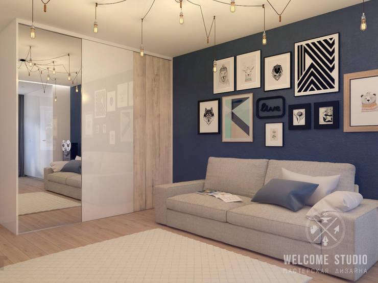 Гостиная, ракурс 3: Гостиная в . Автор – Мастерская дизайна Welcome Studio