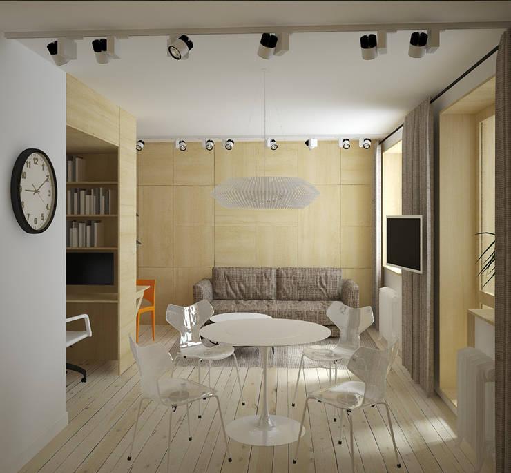зона гостиной-спальни: Гостиная в . Автор – artemuma - архитектурное бюро