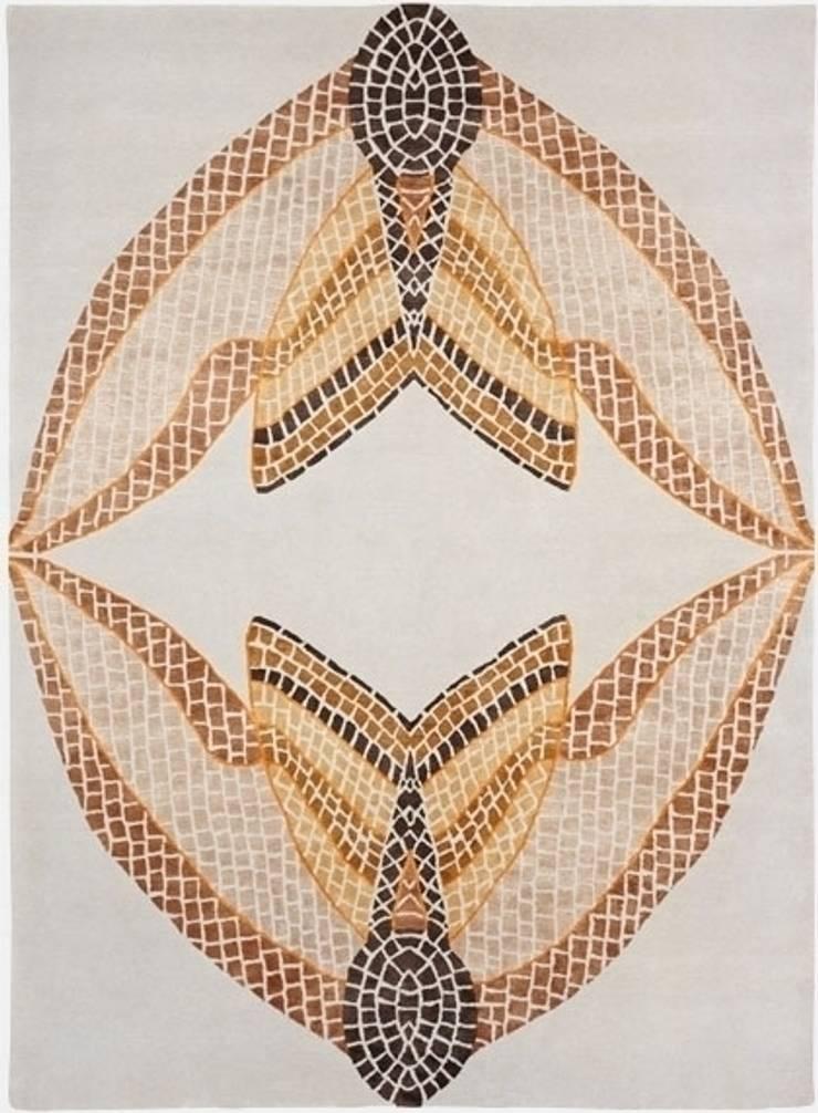 Deirdre Dyson HAWK MOTH MOSAIC hand knotted wool and silk rug: modern  by Deirdre Dyson LLP, Modern