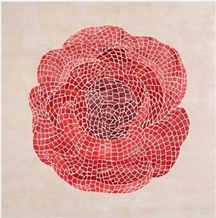 Deirdre Dyson ROSE MOSAIC hand knotted wool and silk rug: modern  by Deirdre Dyson LLP, Modern