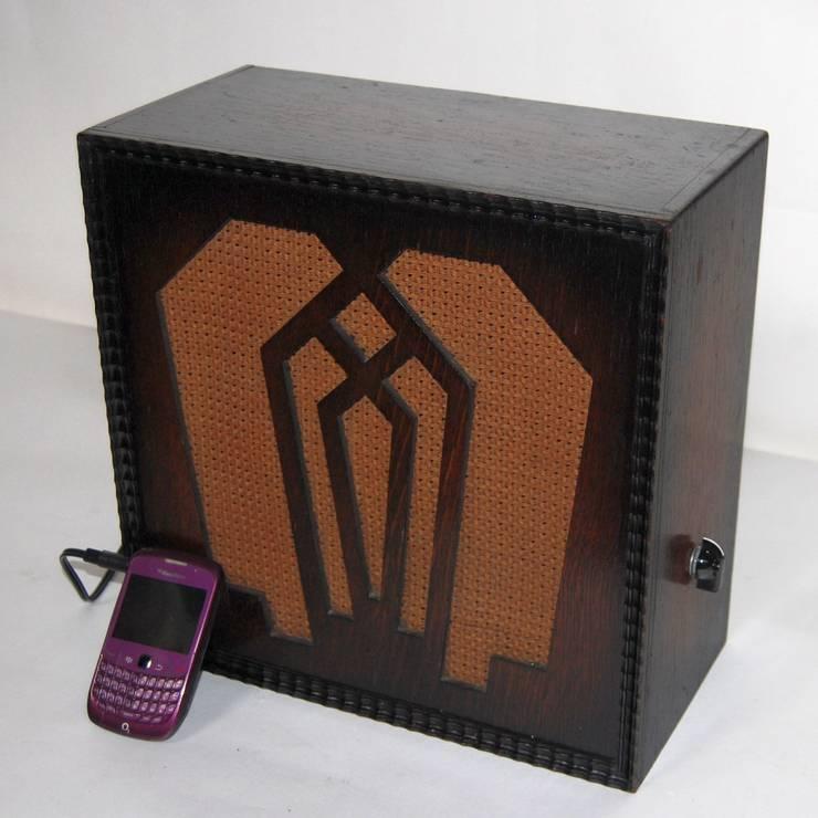 Vintage Oak Amplified Speaker, converted for MP3: industrial  by Retro Bazaar Ltd, Industrial