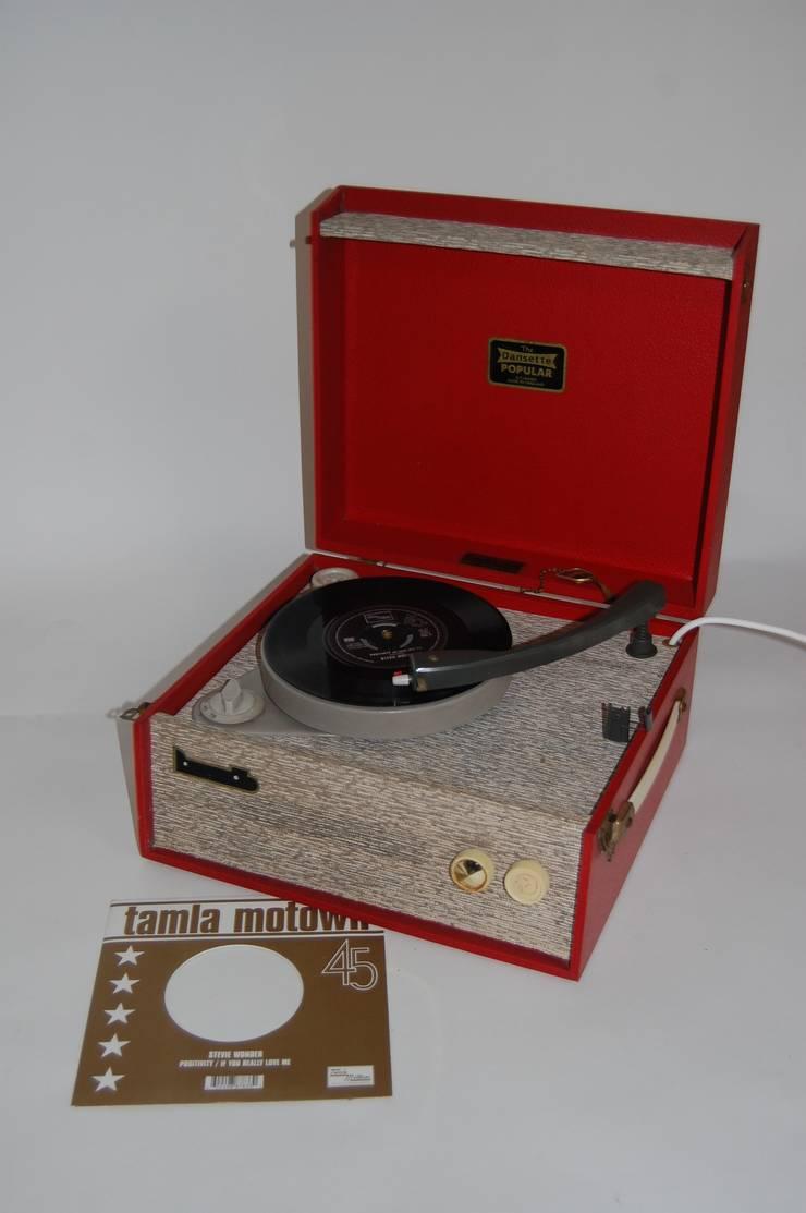 Vintage 1960s Portable Red Dansette Popular Record Player:  Media room by Retro Bazaar Ltd, Minimalist