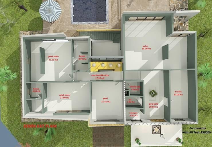 Fe mimarlık mühendislik ltd.şti. – Yeşik Kemer Villaları Giriş kat planı:  tarz