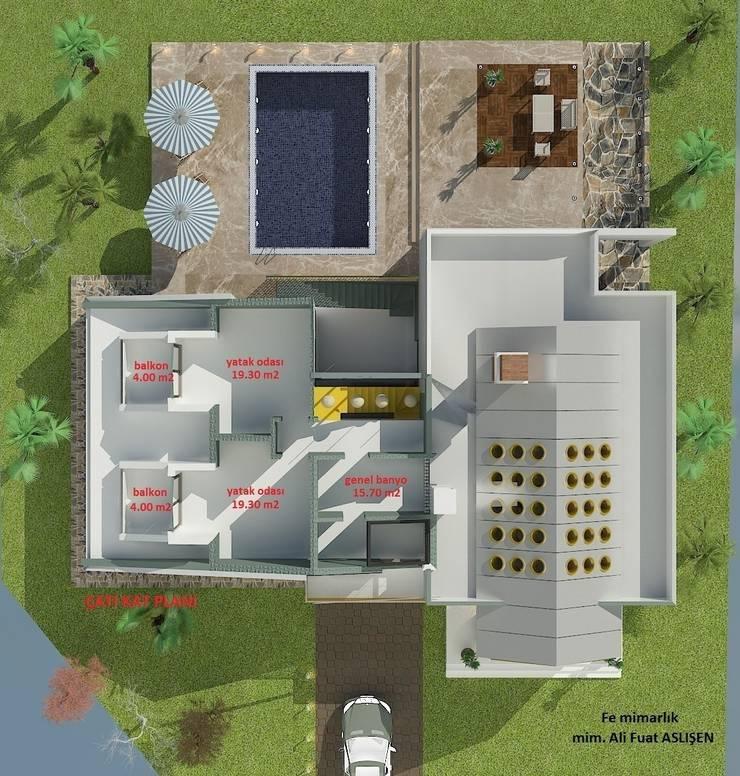 Fe mimarlık mühendislik ltd.şti. – Yeşik Kemer Villaları Çatı kat planı:  tarz