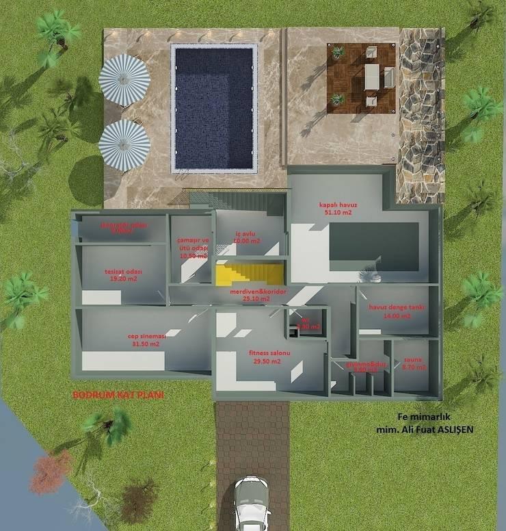 Fe mimarlık mühendislik ltd.şti. – Yeşik Kemer Villaları Bodrum kat planı:  tarz