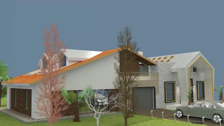 Fe mimarlık mühendislik ltd.şti. – Yeşik Kemer Villaları Yan Görünüş:  tarz