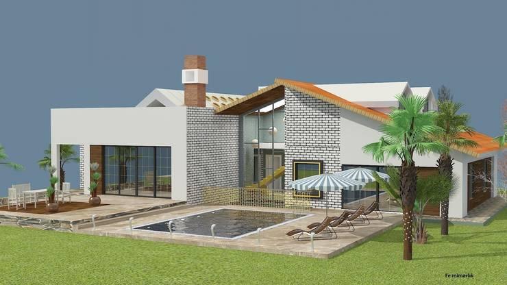 Fe mimarlık mühendislik ltd.şti. – Yeşik Kemer Villaları Arka görünüş:  tarz