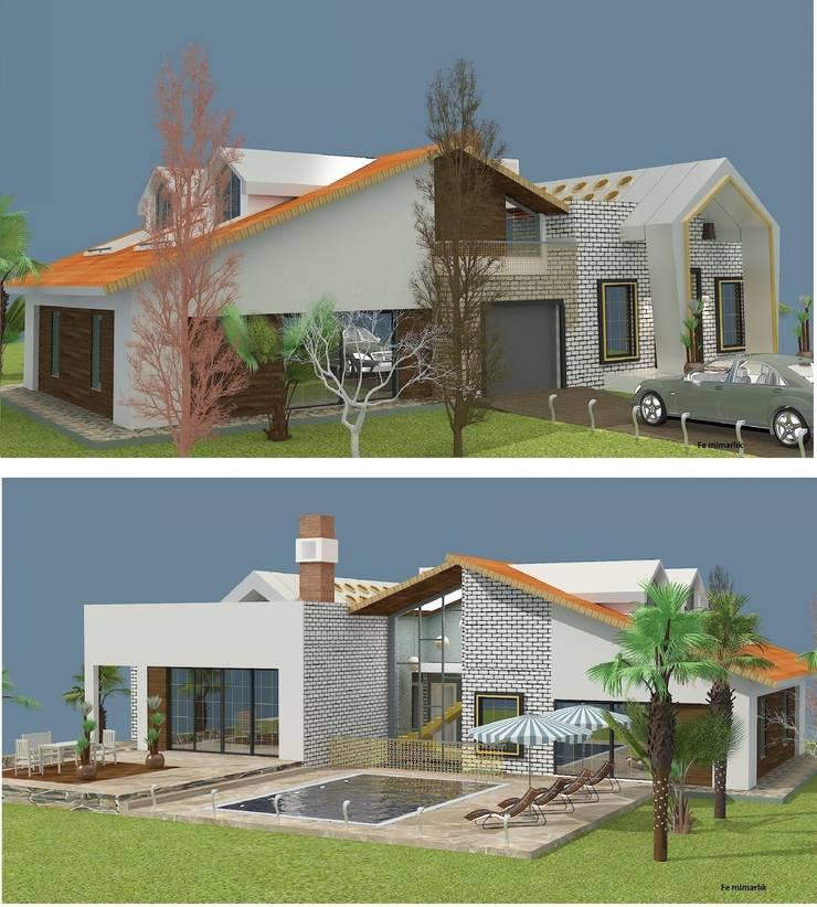 Fe mimarlık mühendislik ltd.şti. – Yeşik Kemer Villaları Ön görünüş ve Arka görünüş:  tarz