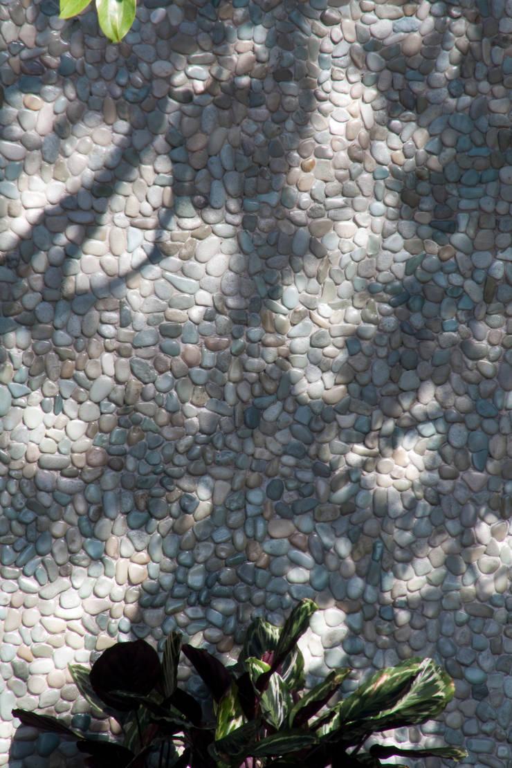DETALHE revestimento parede - mostra casa cor 2009: Locais de eventos  por GILBERTO ELKIS PAISAGISMO