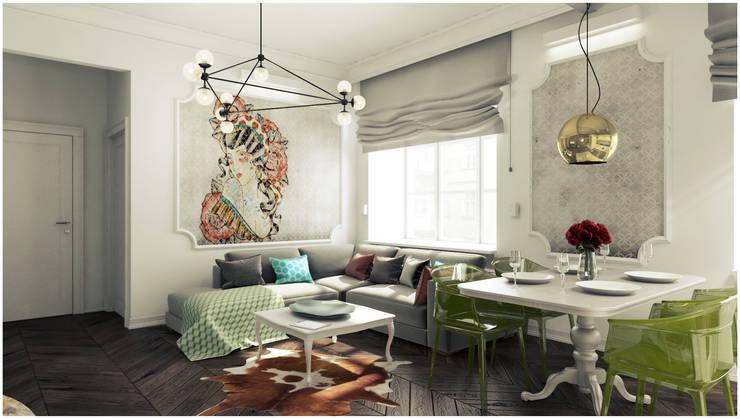 Mieszkanie z charakterem w IX-wiecznej kamienicy: styl , w kategorii Salon zaprojektowany przez 2k architektura