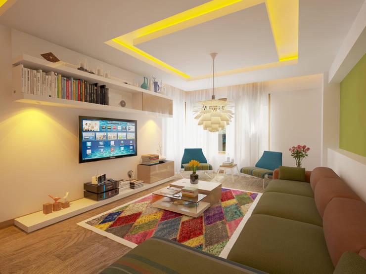 İNDEKSA Mimarlık İç Mimarlık İnşaat Taahüt Ltd.Şti. – İNDEKSA İÇ MİMARLIK: modern tarz Oturma Odası