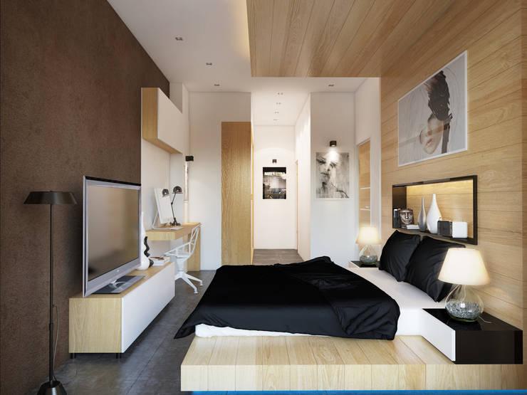 İNDEKSA Mimarlık İç Mimarlık İnşaat Taahüt Ltd.Şti. – İNDEKSA ÖRNEK DAİRE ÇALIŞMASI:  tarz Yatak Odası