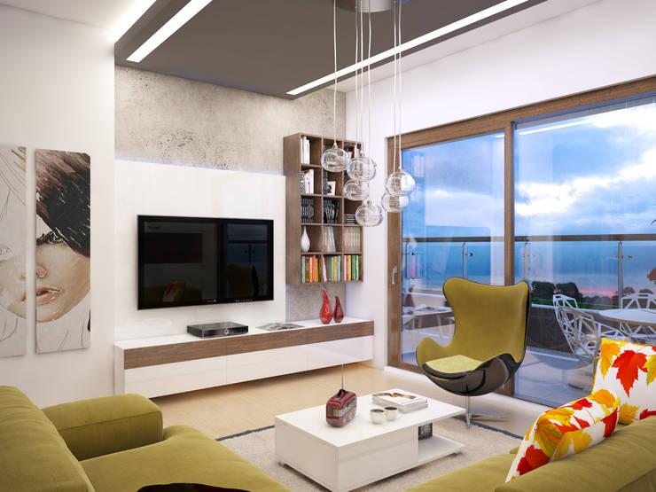 Living room by İNDEKSA Mimarlık İç Mimarlık İnşaat Taahüt Ltd.Şti.