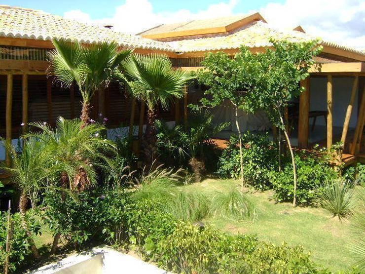 Taman oleh Línea Paisagismo.Claudia Muñoz, Tropis