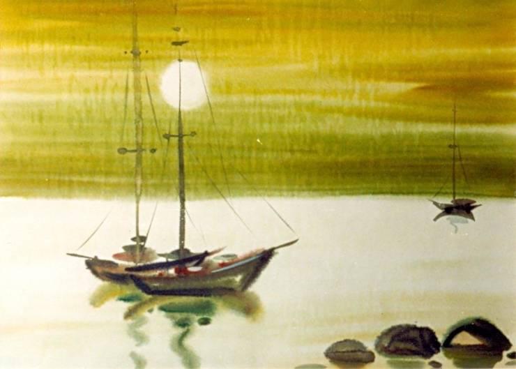 """Бумага. Акварель."""" Закат"""": Произведения искусства в . Автор – KRAUKLIT VALERII"""