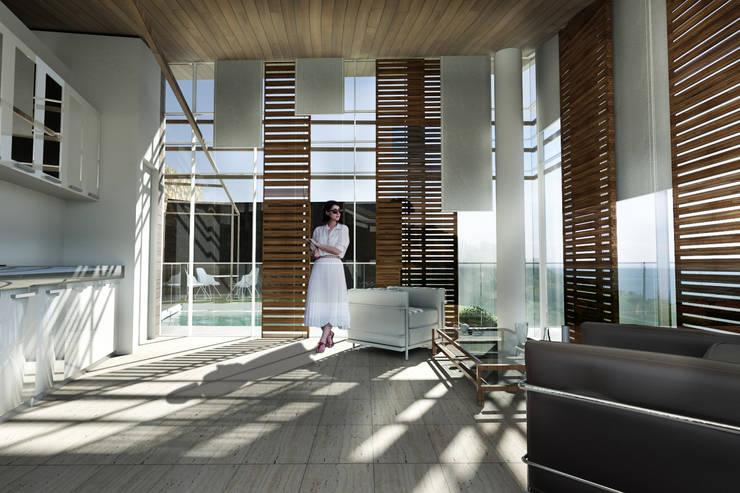 living: Soggiorno in stile in stile Mediterraneo di Studio Rossi + Secco