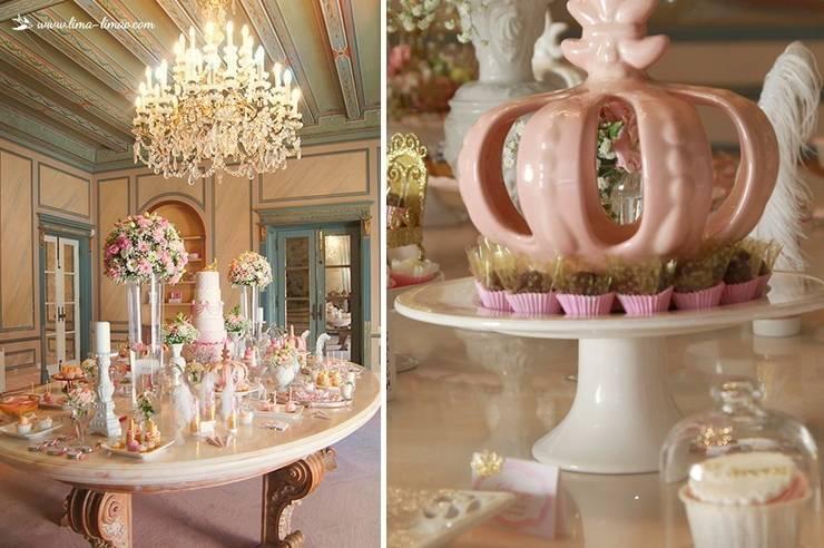 A belíssima mesa e a coroa da Princesa Sofia: Sala de jantar  por Lima Limão-  Festas com charme