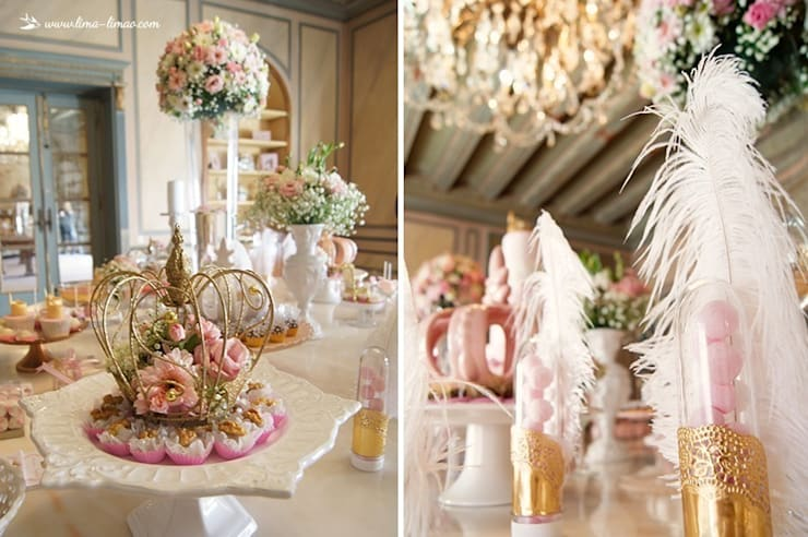 Detalhes cheios de charme da mesa: Sala de jantar  por Lima Limão-  Festas com charme