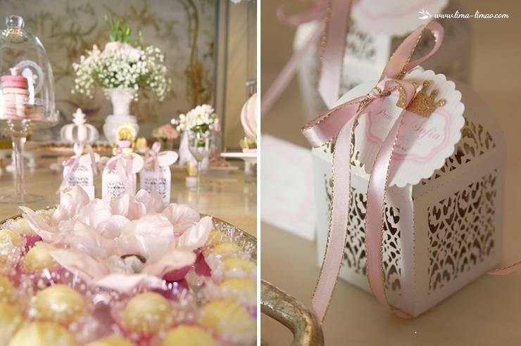 Detalhes de charme da mesa: Sala de jantar  por Lima Limão-  Festas com charme