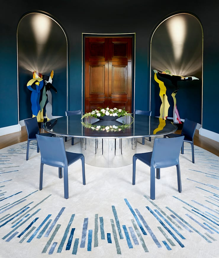 Deirdre Dyson BLUE BARS hand knotted wool and silk rug, residential commission:  Dining room by Deirdre Dyson LLP, Classic