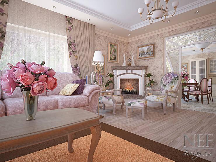 Коттедж в современном классическом стиле: Гостиная в . Автор – Юлия Паршихина