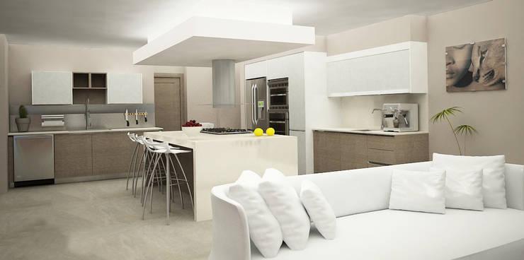 Casa Club de Golf: Cocinas de estilo  por Citlali Villarreal Interiorismo & Diseño
