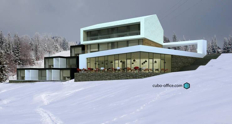 Vista exterior: Hoteles de estilo  de CUBO Arquitectura y Diseño