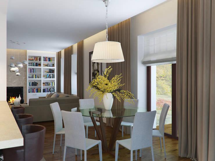 Белая гостиная с черной кухней: Гостиная в . Автор – K-Group,