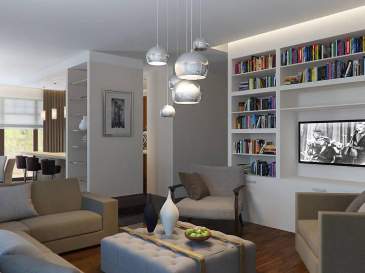 Белая гостиная: Гостиная в . Автор – K-Group,