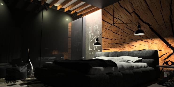 Czarna sypialnia: styl , w kategorii Sypialnia zaprojektowany przez OES architekci,