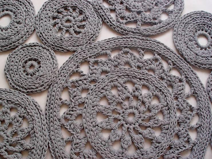 Ręcznie wykonany, dziergany, szydełkowany dywan model LILLE, materiał bawełna, kolor 13: styl , w kategorii Ściany i podłogi zaprojektowany przez RENATA NEKRASZ art & design