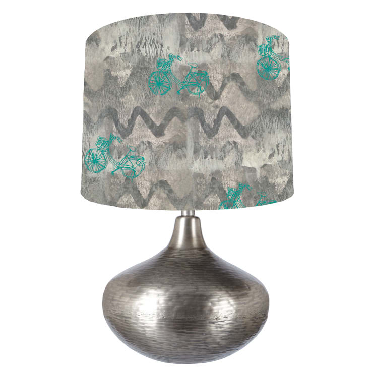 Grey and turquoise bike abstract lampshade: modern  by bymarie, Modern