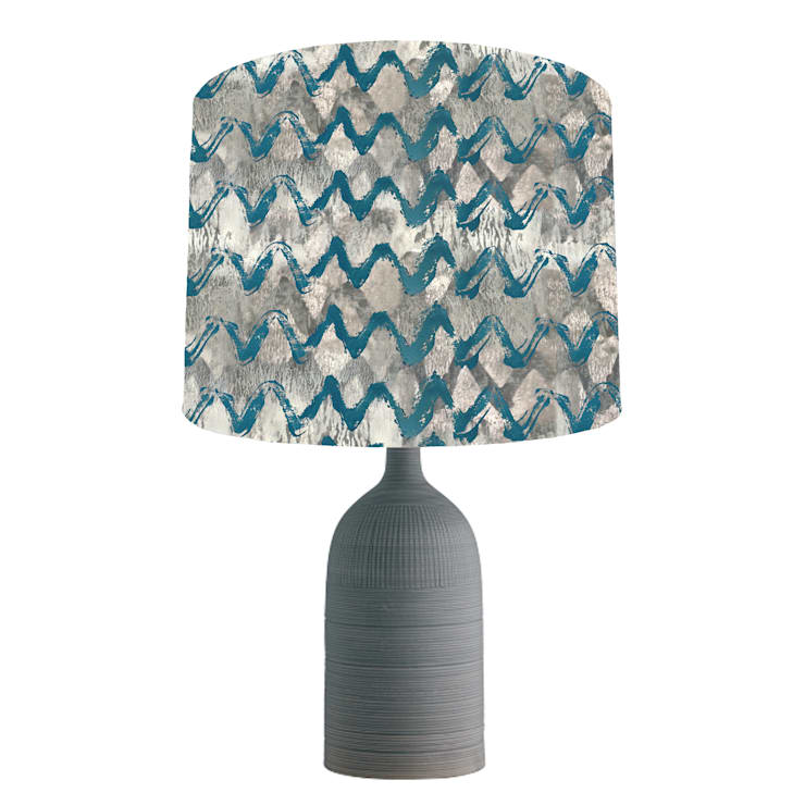 Grey and turquoise abstract lampshade: modern  by bymarie, Modern