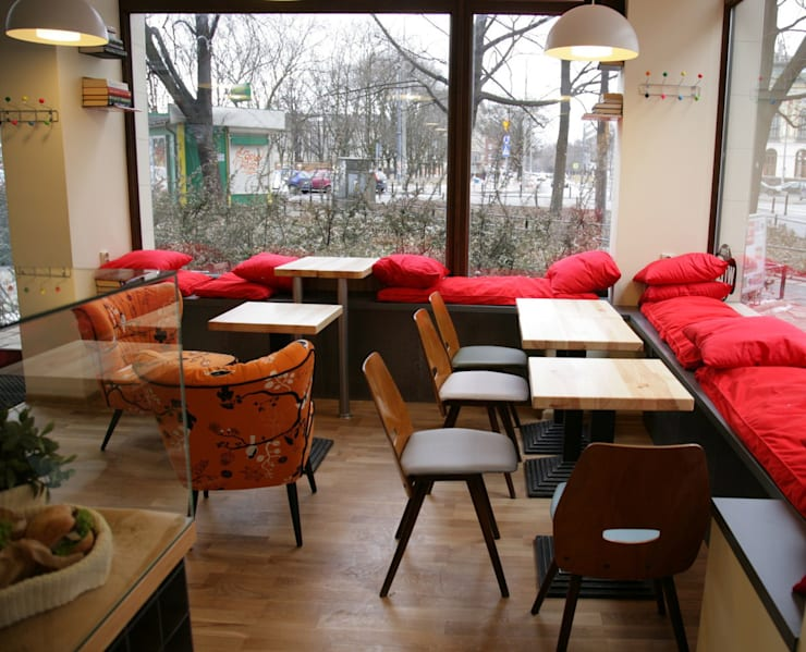Coffeina kawiarnia Warszawa: styl , w kategorii Bary i kluby zaprojektowany przez dziurdziaprojekt