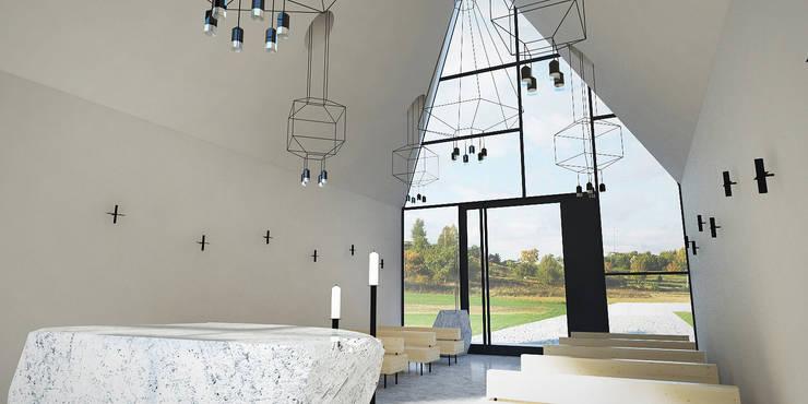 KAPLICA W POLU - WNĘTRZA: styl , w kategorii Domy zaprojektowany przez 90 stopni