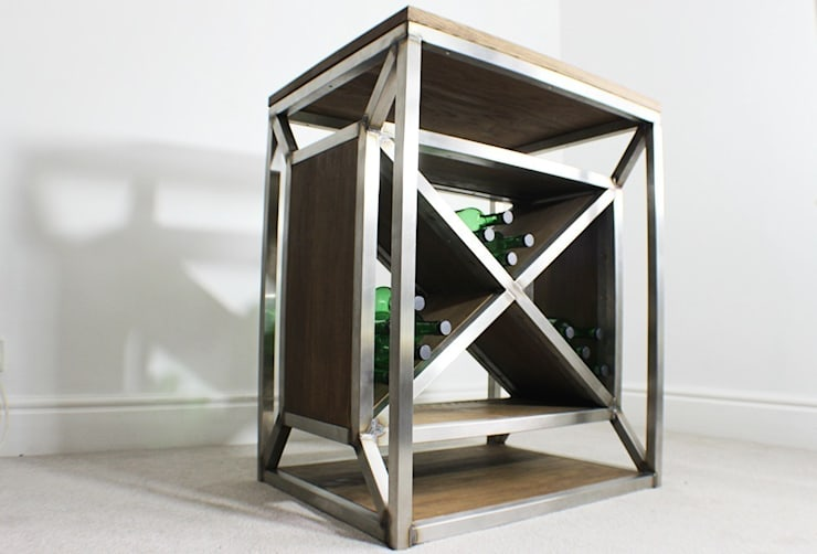 Dulla X Frame Industrial Wine Rack: industrial  by Russell Oak and Steel Ltd, Industrial