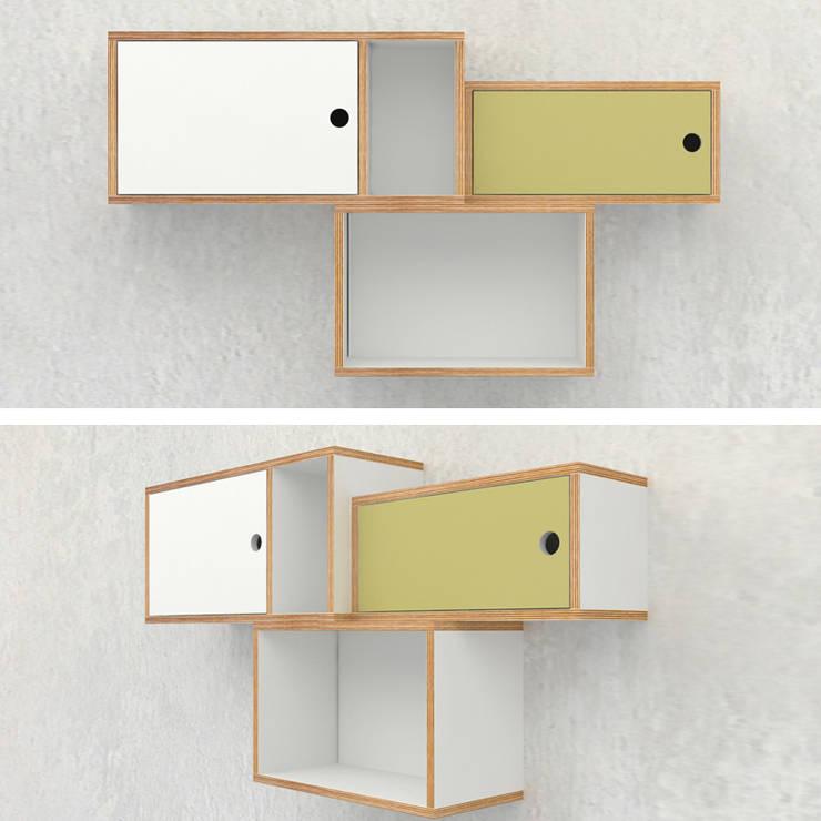 wiszące szafki ze sklejki Intterno: styl , w kategorii Salon zaprojektowany przez Intterno