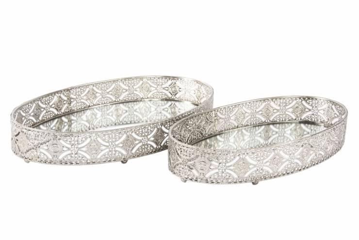 Bandejas de metal decorado con base de espejo.: Hogar de estilo  de Goyart.com