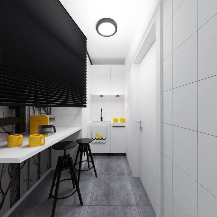 Pomieszczenie socjalne - aneks kuchenny: styl , w kategorii Biurowce zaprojektowany przez HUK atelier