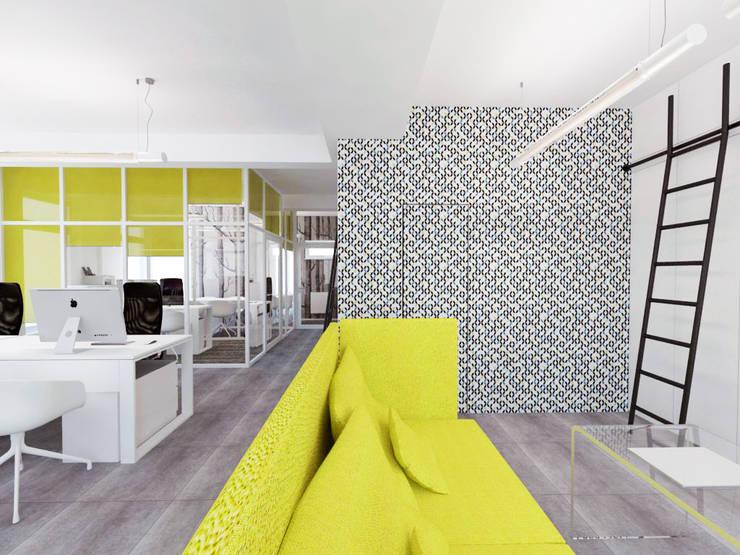 Biuro typu open - space: styl , w kategorii Biurowce zaprojektowany przez HUK atelier