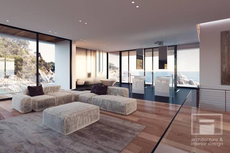 Море Вокруг. Архитектурное решение + Интерьер дома (1000м2): Ванные комнаты в . Автор –  i-project
