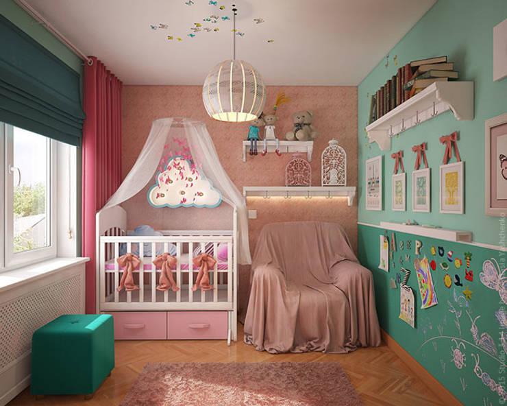 Детская с бабочками: Детские комнаты в . Автор – «Студия 3.14», Эклектичный
