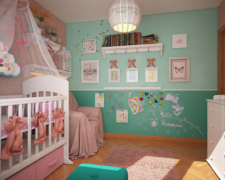 Детская с бабочками. 3D: Детские комнаты в . Автор – «Студия 3.14»