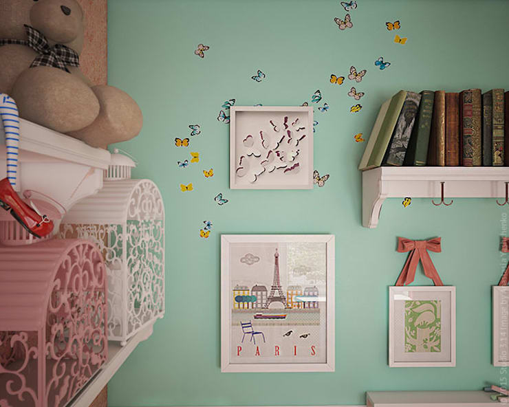 Детская с бабочками. 3D: Детские комнаты в . Автор – «Студия 3.14», Эклектичный