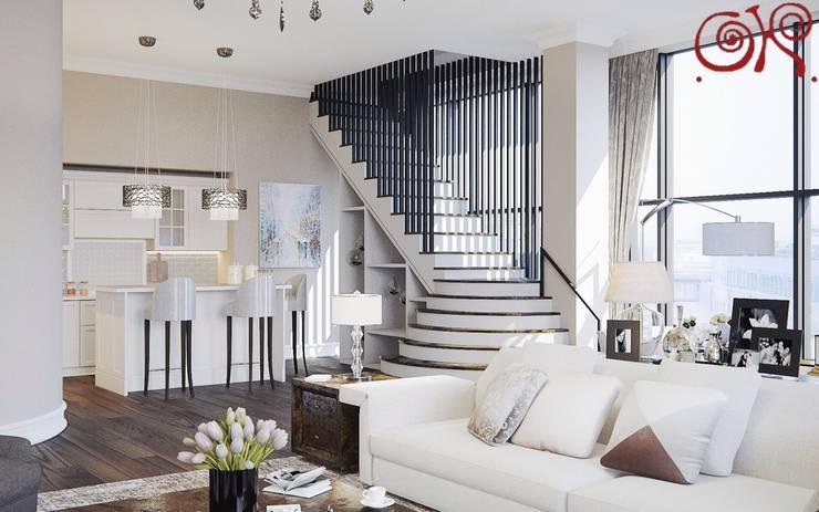 Текущий проект: дизайн квартиры в пентхаусе: Гостиная в . Автор – Дизайн студия Ольги Кондратовой
