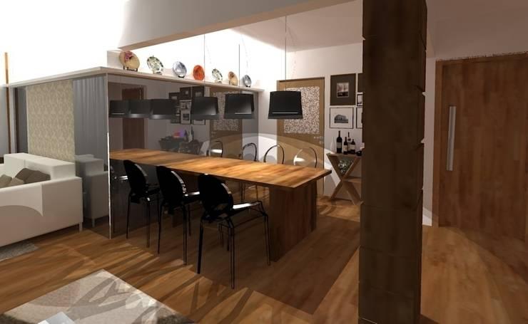 Estar e Jantar madeira e tons neutros: Salas multimídia  por Elaine Medeiros Borges design de interiores