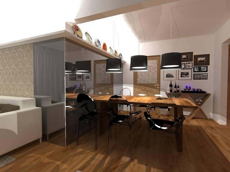 Estar e Jantar madeira e tons neutros: Salas de jantar  por Elaine Medeiros Borges design de interiores