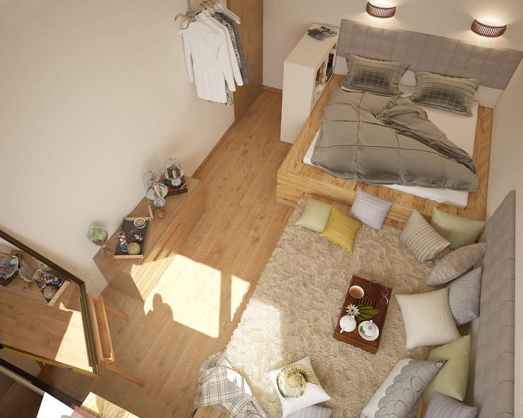 Экоквартира в Тропарево: Спальни в . Автор – «Студия 3.14», Минимализм